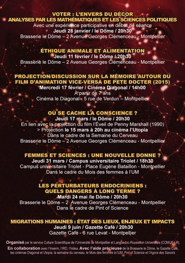 verso de l'affiche du bar des sciences saison 2016 à montpellier